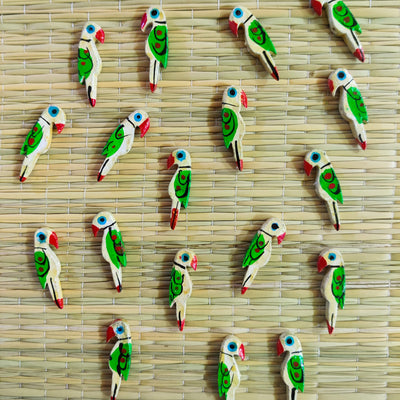 Pack Of Five Cream Parrot Button