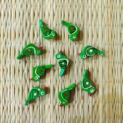 Pack Of Five Green Bird Button