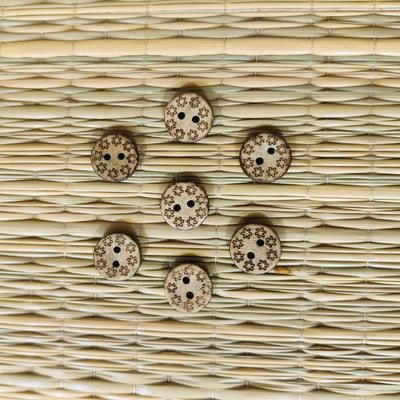 Pack Of Five Star Carved Button