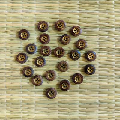 Pack Of Five Wooden Button With Metal Core
