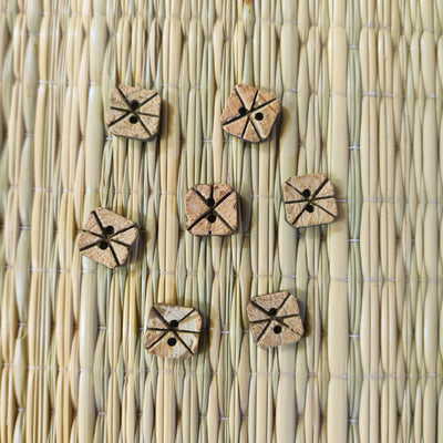 Pack Of Five Wooden Curved Sqaure Button