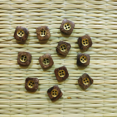 Pack Of Five Wooden metal Button