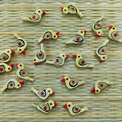 Pack Of Four Cream Bird Button