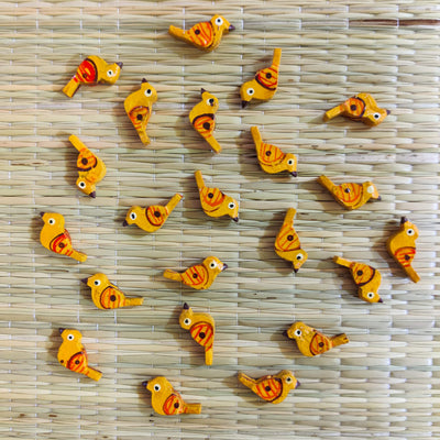 Pack Of Four Mustard Yellow Bird Button