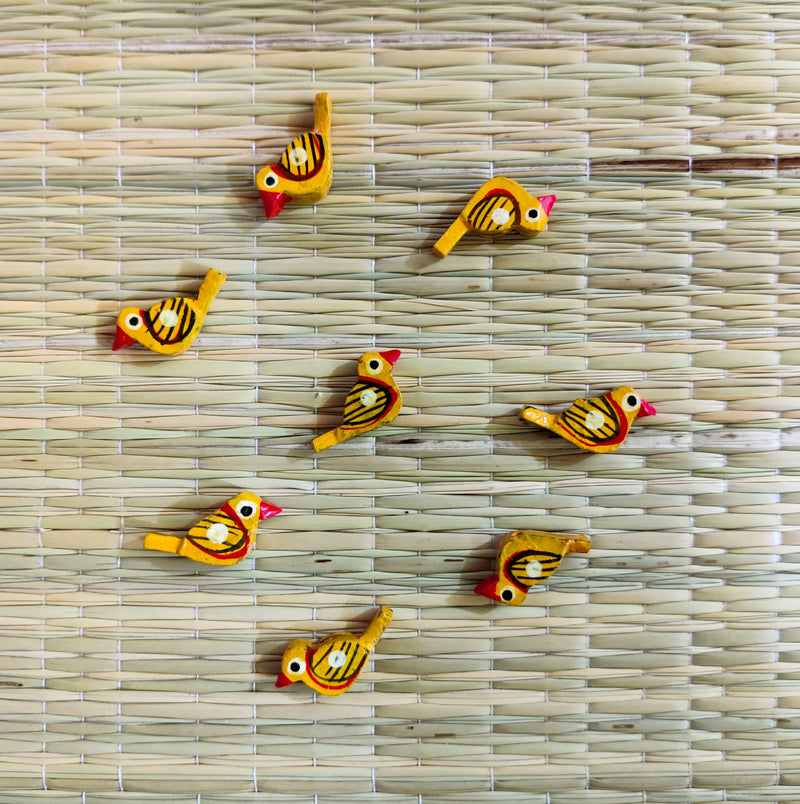 Pack Of Four Yellow Bird Button