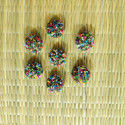 Pack Of Three Multi Beads Metal Statement Buttons