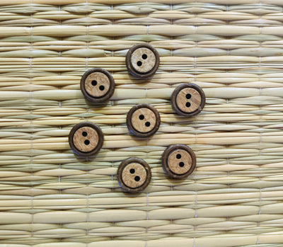 Pack of  Four Circle Carved Wooden Buttons