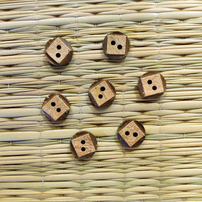 Pack of  Four Square Carved Wooden Buttons