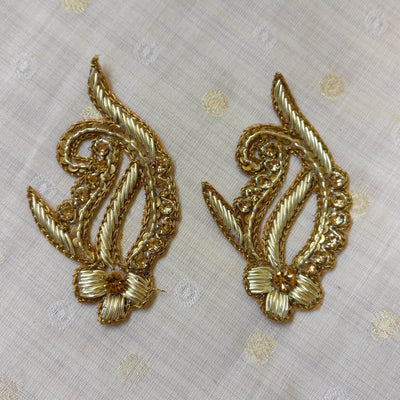 Pair Of Gold Zardozi Small Flower Patch