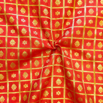 Peach Brocade With Gold Woven Checks With Tiny Motifs Hand Woven Fabric