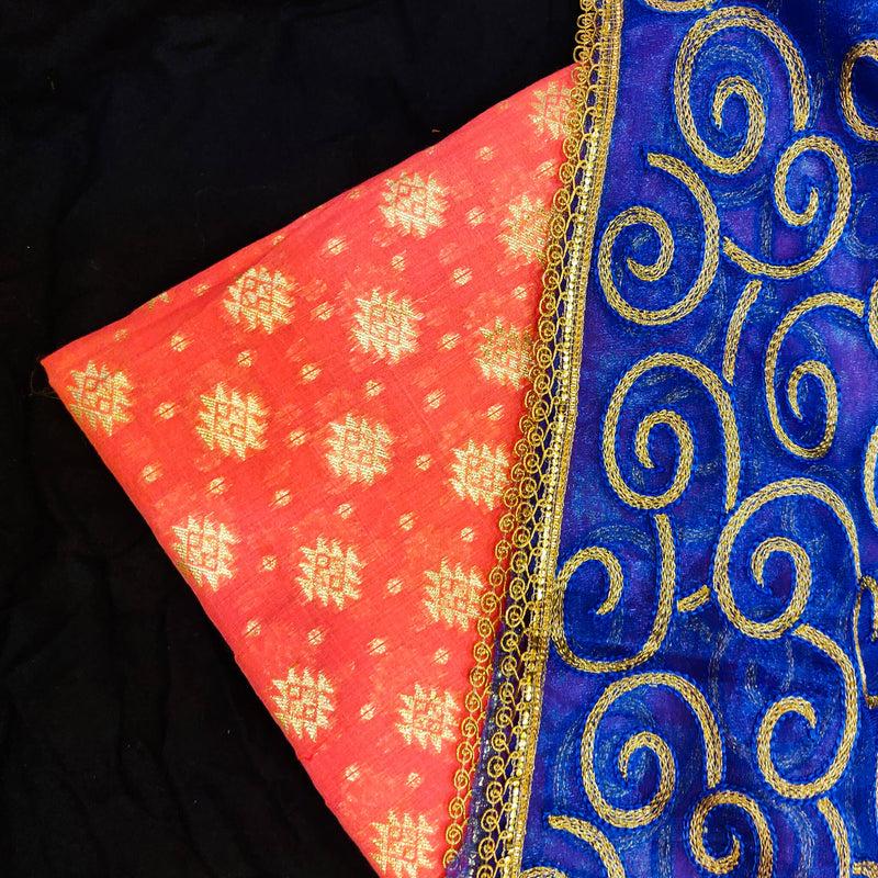 Pink Banarasi Brocade Top Fabric With Blue Zari Work Dupatta Combo