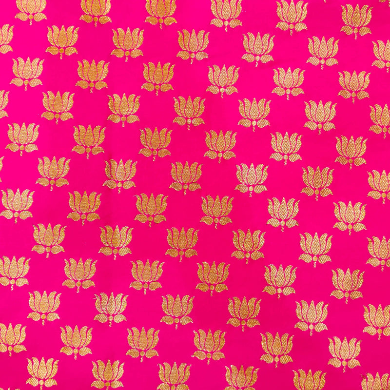 Pink Silk Brocade With Gold Lotus Motif Hand Woven Banarasi Fabric