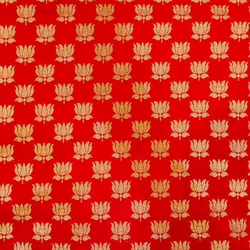 Pinkish Red Silk Brocade With Gold Lotus Motif Hand Woven Fabric