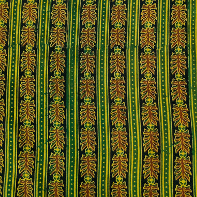 Pre-cut 1.75 meters Pure Cotton Dabu Green Intricate Stripes Hand Block Print Fabric