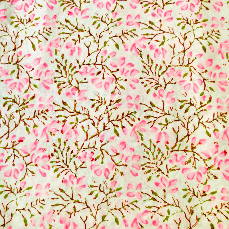 Pure Jaipuri Cotton With Pink Petal Flower Jaal Hand Block Print Fabric