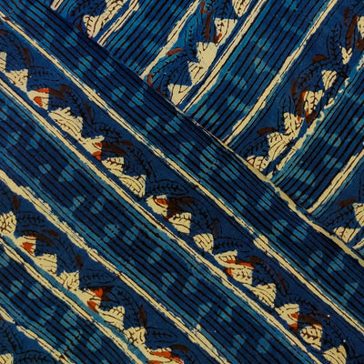 Pur Cotton Dabu Jahota Indigo With Lines And Triangles Intricate Stripes Hand Block Print Fabric