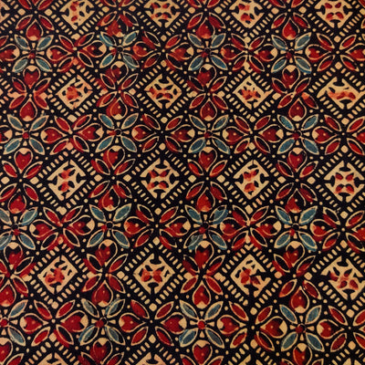 Pure Cotton Ajrak Black With Beige Blue Rust Persian Tiles Hand Block Print Fabric