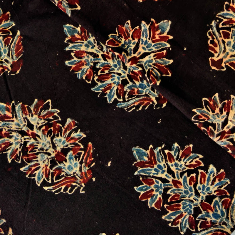 Pure Cotton Ajrak Black With Bloomed Plant Hand Block Print Blouse Fabric ( 85 Cm )