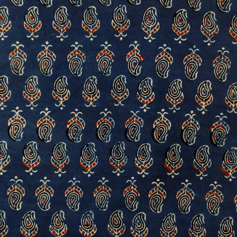 Pure Cotton Ajrak Blue Dyed With Tiny Kairi Hand Block Print Blouse Fabric ( 85 Cm )