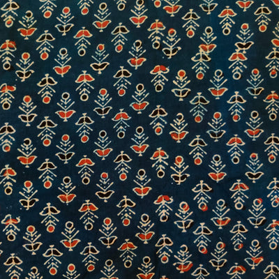 Pure Cotton Ajrak Blue With Red And Black Circle Flower Hand Block Print Fabric