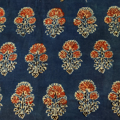 Pure Cotton Ajrak Blue With Rust Three Flower Plant Motif Hand Block Print Fabric