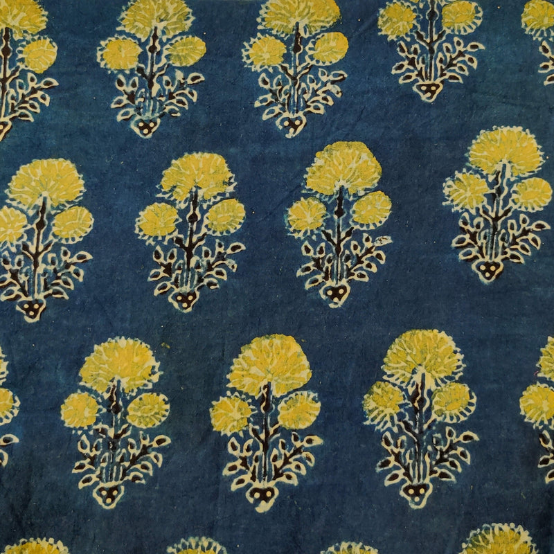 Pure Cotton Ajrak Blue With Three Flower Plant Motif Hand Block Print Fabric