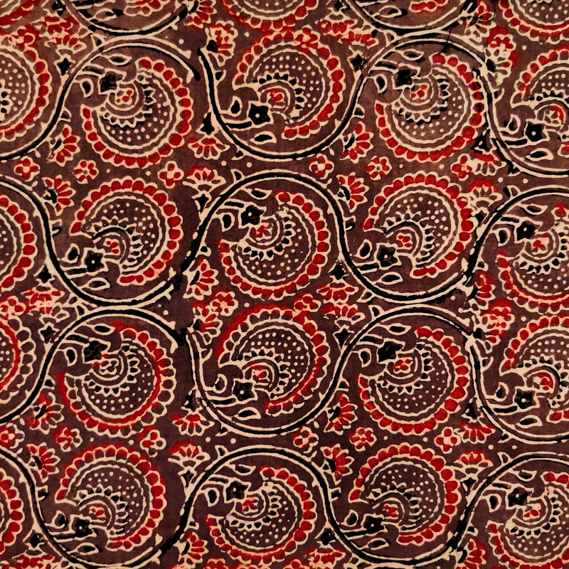 Pure Cotton Ajrak Brown WIth Dahlia Jaal Hand Block Print Fabric