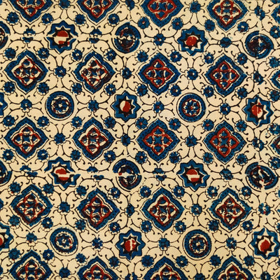 Pure Cotton Ajrak Cream With Blue And Rust Tiles Hand Block Print Fabric
