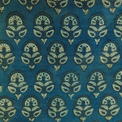 Pure Cotton Ajrak Dabu Blue With Flower Buds Hand Block Print Fabric