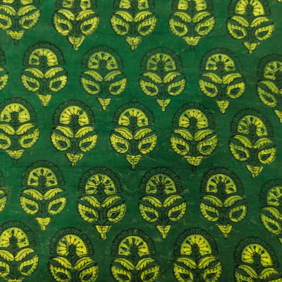 Pure Cotton Ajrak Dabu Green With Flower Buds Hand Block Print Fabric