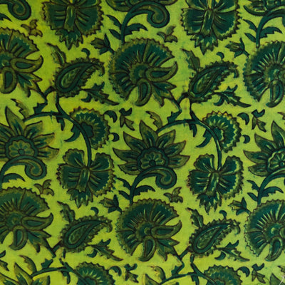 Pure Cotton Ajrak Dabu Green With Wild Fruits And Flowers Jaal Hand Block Print Fabric