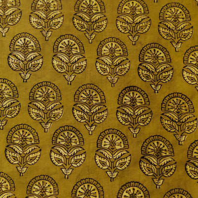 Pure Cotton Ajrak Dabu Mustard Green With Flower Buds Hand Block Print Fabric