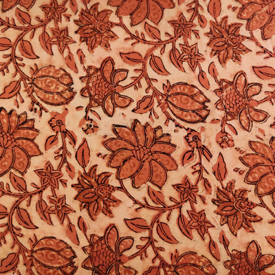 Pure Cotton Ajrak Dabu Rust With Wild Flowers And Fruits Jaal Hand Block Print Fabric