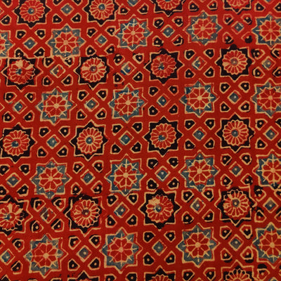 Pure Cotton Ajrak Madder With Blue And Black Stars Hand Block Print Fabric