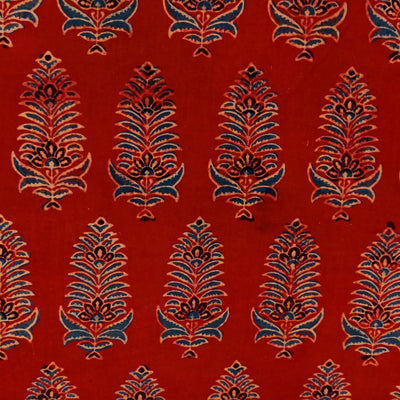Pure Cotton Ajrak Madder With Intricate Corn Motif Hand Block Print Blouse Piece Fabric( 90 cm )