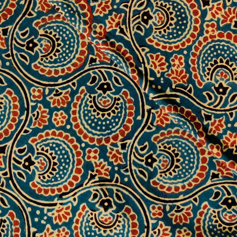 Pure Cotton Ajrak Persian Blue WIth Rust Dahlia Jaal Hand Block Print Fabric