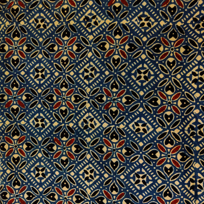 Pure Cotton Ajrak Persian Blue With Beige Madder Black Persian Tiles Hand Block Print Fabric