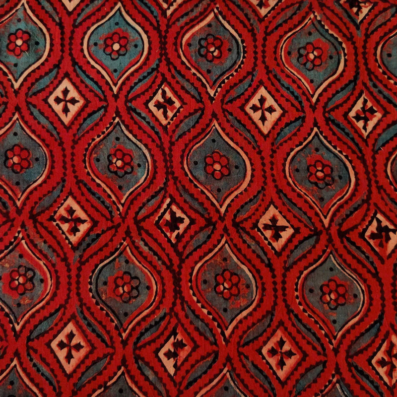 Pure Cotton Ajrak Rust With Blobby Geometric Pattern Hand Block Print blouse Fabric ( 1 meter )