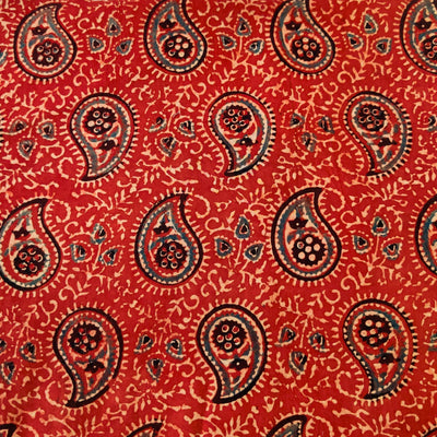 Pure Cotton Ajrak Rust With Intricate Kairi Jaal Hand Block Print Fabric