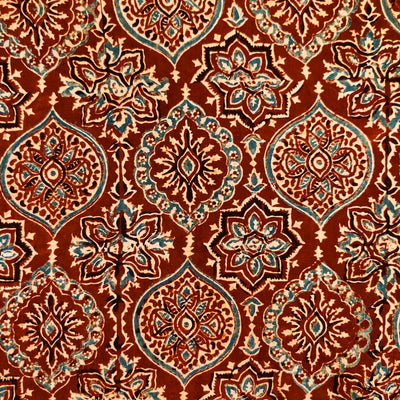 Pure Cotton Ajrak Rust With Intricate Patterned Hand Block Print Fabric