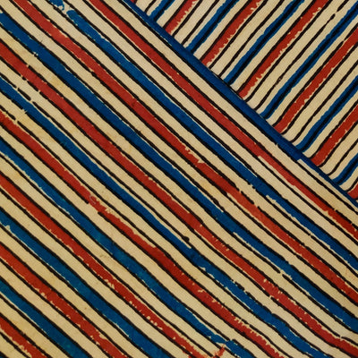 Pure Cotton Ajrak With Cream Blue And Rust Stripes Hand Block Print Fabric
