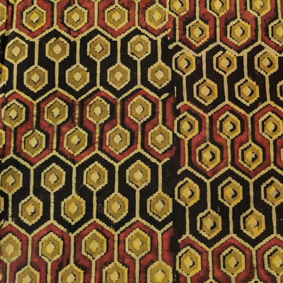 Pure Cotton Ajrak With Maroon And Black Honey Comb Hand Block Print Fabric
