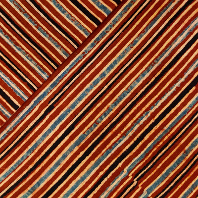 Pure Cotton Ajrak With Rust Cream And Black Stripes Hand Block Print Fabric