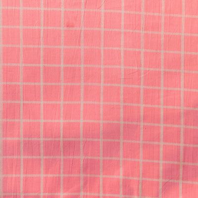 Pure Cotton Baby Pink With White Checks Screen Print Fabric