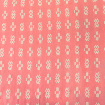 Pure Cotton Baby Pink With White Tiny Ikkat Pattern Screen Print Fabric