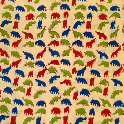 Pure Cotton Beige Jaipuri With Green Blue And Red Dino Hand Block Print Fabric