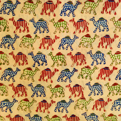 Pure Cotton Beige Jaipuri With Red Blue And Green Camel Hand Block Print