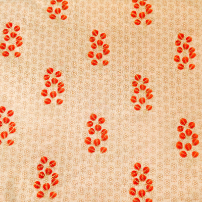 Pure Cotton Beige Self Design Screen Print With Red Orange Flower Plant