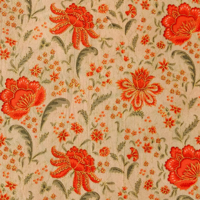 Pure Cotton Beige With Orange And Gold Flower Jaal Screen Print Fabric