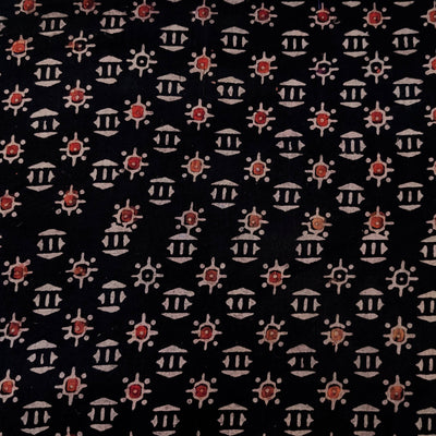 Pure Cotton Black Ajrak With Tiny Tribal Motifs Hand Block Print Fabric